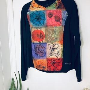 Sugoi Abstract Floral Tech V Neck Trendy SZ Lg